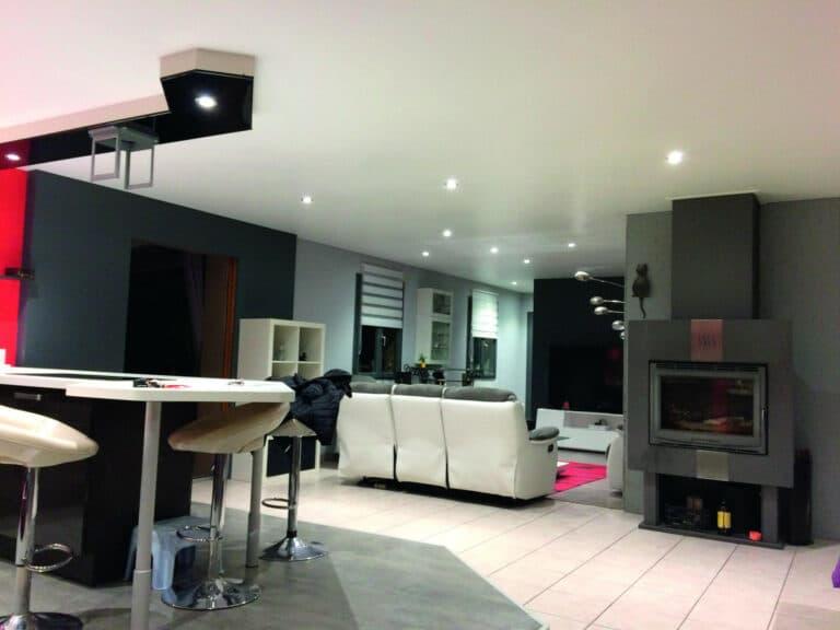 GST Rénovation - Plafond tendu salon complet