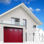 GST Rénovation - Porte de garage ALU sectionnelle rouge avec vitre